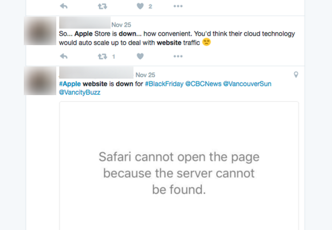 Twitter Reactions to Apple Downtime