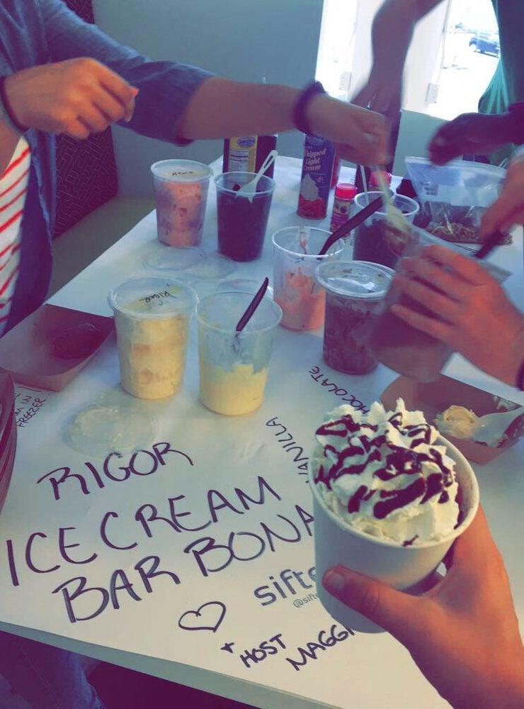 Rigor interns indulging in an ice cream bar